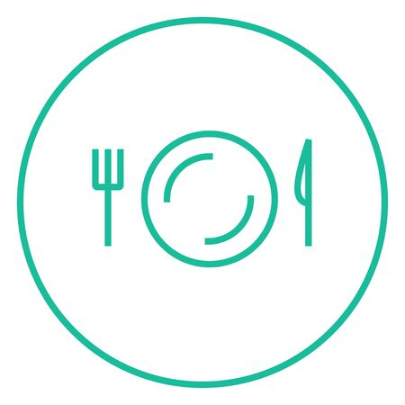 meat chopper: Plate with cutlery thick line icon with pointed corners and edges for web, mobile and infographics. Vector isolated icon.