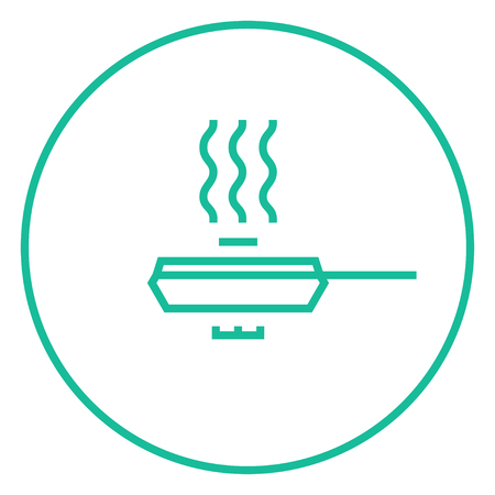 steam cooker: Frying pan with cover thick line icon with pointed corners and edges for web, mobile and infographics. Vector isolated icon. Illustration