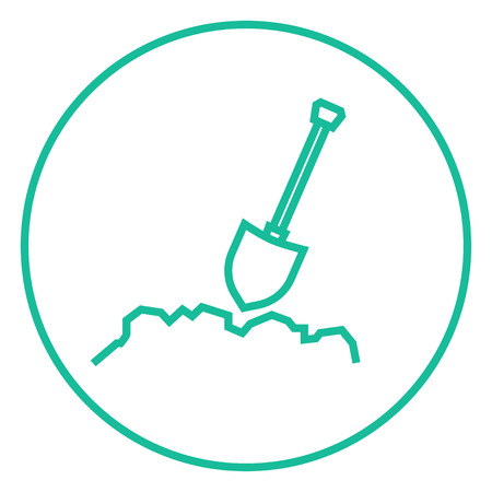 Mining shovel thick line icon with pointed corners and edges for web, mobile and infographics. Vector isolated icon.