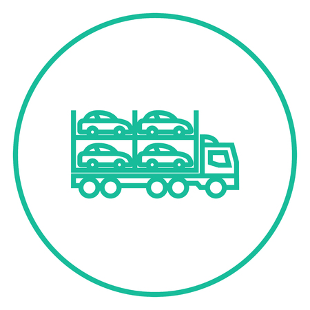 car carrier: Car carrier thick line icon with pointed corners and edges for web, mobile and infographics. Vector isolated icon. Illustration
