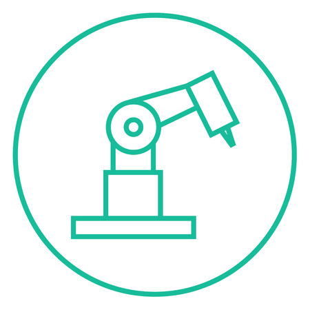 Industrial mechanical robot arm thick line icon with pointed corners and edges for web, mobile and infographics. Vector isolated icon.