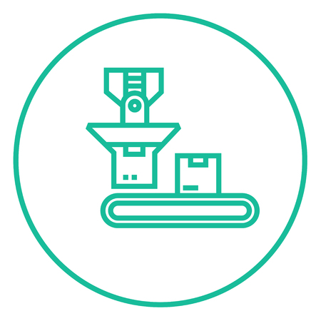 Boîte en carton sur la bande transporteuse icône de la ligne épaisse avec des coins pointus et des bords pour le web, le mobile et infographies. Vector icône isolé.