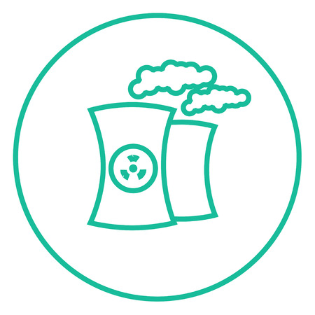 ecological damage: Nuclear power plant thick line icon with pointed corners and edges for web, mobile and infographics. Vector isolated icon.