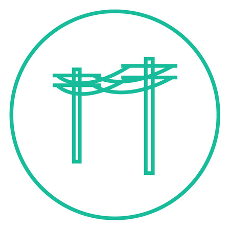 amperage: High voltage power lines thick line icon with pointed corners and edges for web, mobile and infographics. Vector isolated icon.