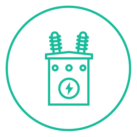 electric grid: High voltage transformer thick line icon with pointed corners and edges for web, mobile and infographics. Vector isolated icon. Illustration