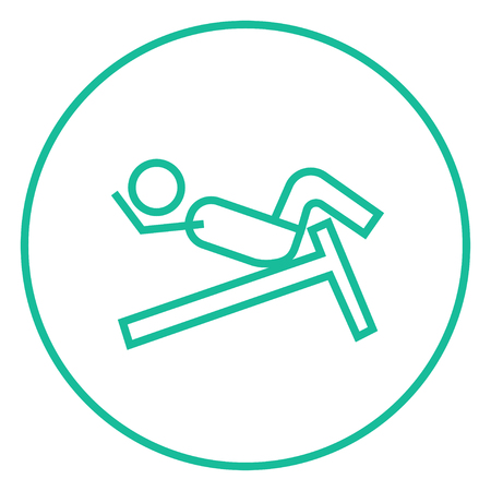 Man doing crunches on incline bench thick line icon with pointed corners and edges for web, mobile and infographics. Vector isolated icon. Illustration