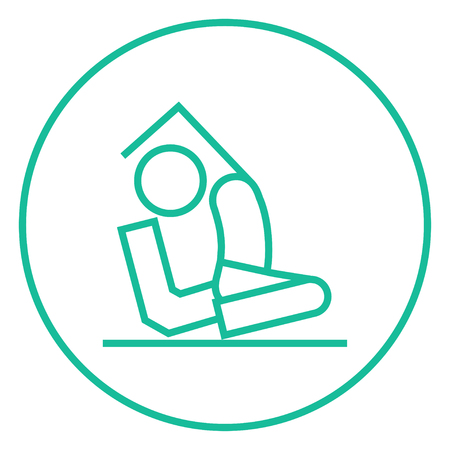 pada: Man sitting in asana eka pada radzhakapotasana thick line icon with pointed corners and edges for web, mobile and infographics. Vector isolated icon.
