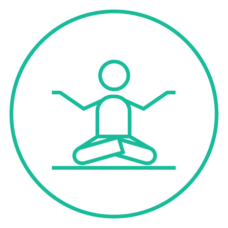 concentrate: A man meditating in lotus pose thick line icon with pointed corners and edges for web, mobile and infographics. Vector isolated icon.