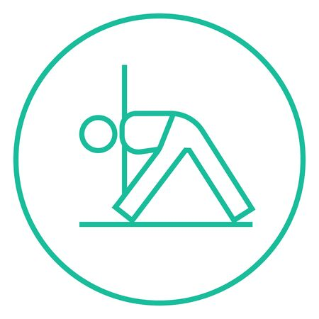 A man meditating in triangle pose thick line icon with pointed corners and edges for web, mobile and infographics. Vector isolated icon. Vettoriali