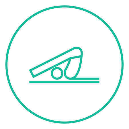 plow: A man practicing yoga plough pose thick line icon with pointed corners and edges for web, mobile and infographics. Vector isolated icon. Illustration