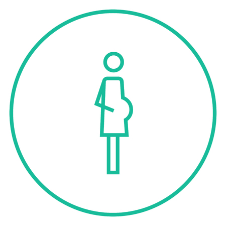 gestation: Pregnant woman thick line icon with pointed corners and edges for web, mobile and infographics. Vector isolated icon.