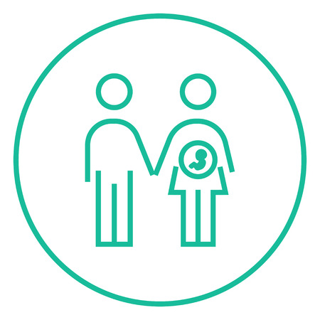 Husband with pregnant wife thick line icon with pointed corners and edges for web, mobile and infographics. Vector isolated icon.