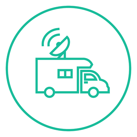 Broadcasting van thick line icon with pointed corners and edges for web, mobile and infographics. Vector isolated icon. Illustration