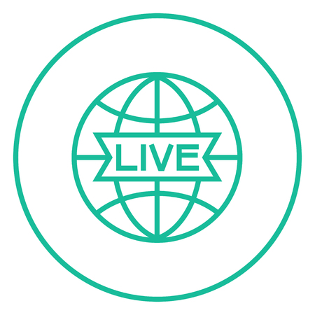 Globe with live sign thick line icon with pointed corners and edges for web, mobile and infographics. Vector isolated icon.