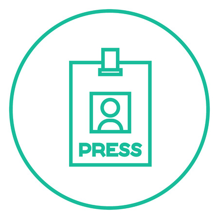 neckband: Press pass ID card thick line icon with pointed corners and edges for web, mobile and infographics. Vector isolated icon.