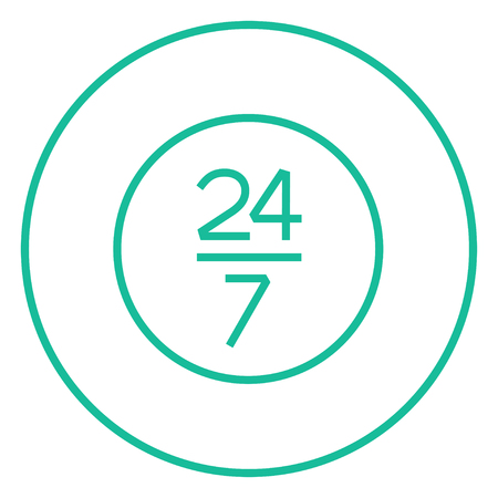 Open 24 hours and 7 days in wheek sign thick line icon with pointed corners and edges for web, mobile and infographics. Vector isolated icon.