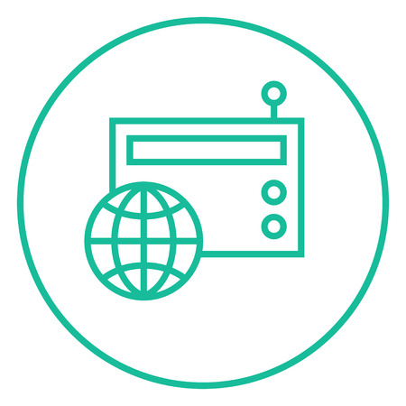 world receiver: Retro radio with globe thick line icon with pointed corners and edges for web, mobile and infographics. Vector isolated icon. Illustration
