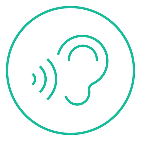 earing: Ear and sound waves thick line icon with pointed corners and edges for web, mobile and infographics. Vector isolated icon.