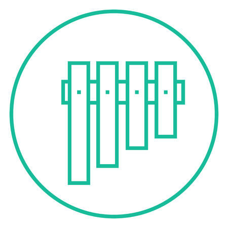 panpipes: Vibraphone thick line icon with pointed corners and edges for web, mobile and infographics. Vector isolated icon.