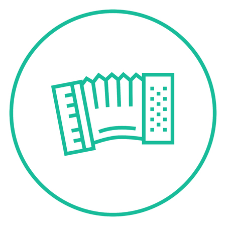 piano closeup: Accordion thick line icon with pointed corners and edges for web, mobile and infographics. Vector isolated icon.