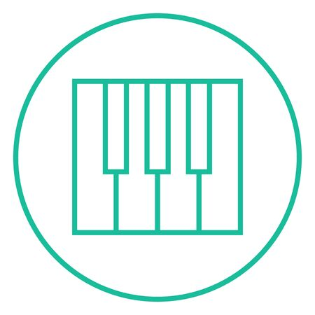 ivories: Piano keys thick line icon with pointed corners and edges for web, mobile and infographics. Vector isolated icon.