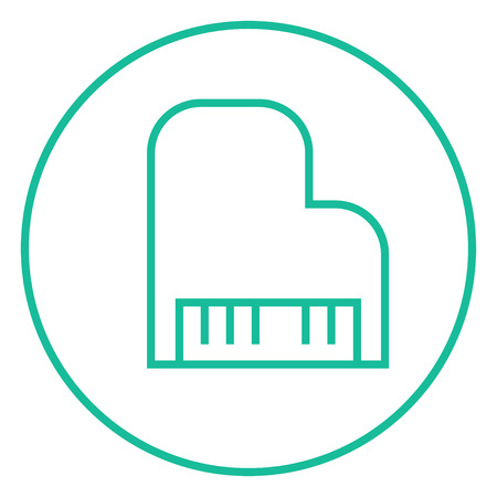 pianoforte: Piano thick line icon with pointed corners and edges for web, mobile and infographics. Vector isolated icon.