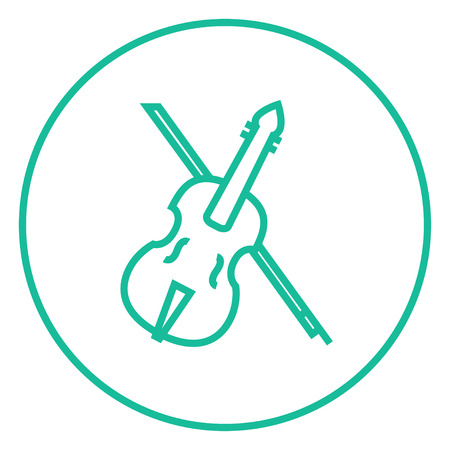 fiddlestick: Violin with bow thick line icon with pointed corners and edges for web, mobile and infographics. Vector isolated icon. Illustration