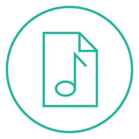 Musical note drawn on a sheet thick line icon with pointed corners and edges for web, mobile and infographics. Vector isolated icon.