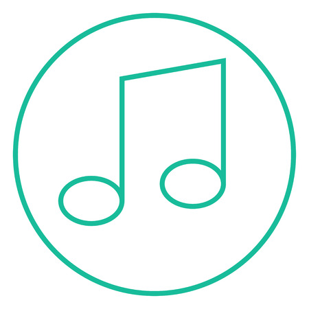 Music note thick line icon with pointed corners and edges for web, mobile and infographics. Vector isolated icon.