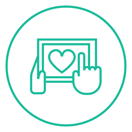 Smartphone with heart sign thick line icon with pointed corners and edges for web, mobile and infographics. Vector isolated icon.