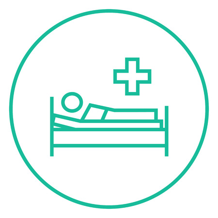bedridden: Patient lying on the bed thick line icon with pointed corners and edges for web, mobile and infographics. Vector isolated icon.