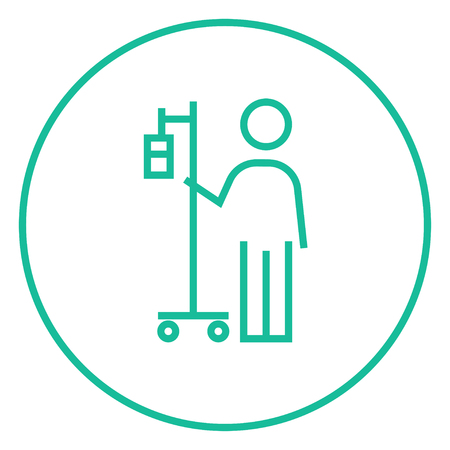 device: Patient standing with intravenous dropper thick line icon with pointed corners and edges for web, mobile and infographics. Vector isolated icon.