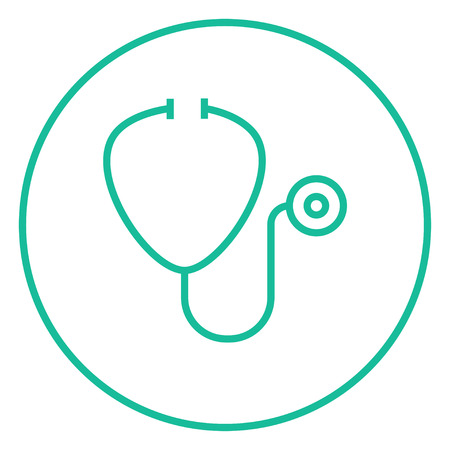 Stethoscope thick line icon with pointed corners and edges for web, mobile and infographics. Vector isolated icon.
