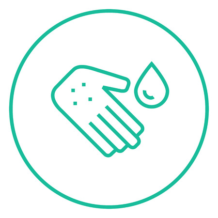 Hand with microbes and water drop thick line icon with pointed corners and edges for web, mobile and infographics. Vector isolated icon. Illustration