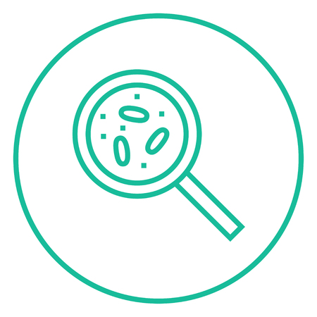 pathogen: Microorganisms under magnifier thick line icon with pointed corners and edges for web, mobile and infographics. Vector isolated icon.