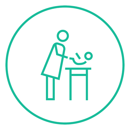 specialist: Mother taking care of the baby thick line icon with pointed corners and edges for web, mobile and infographics. Vector isolated icon. Illustration