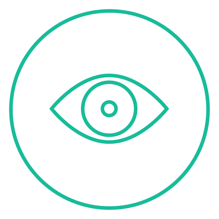 Eye thick line icon with pointed corners and edges for web, mobile and infographics. Vector isolated icon. Illustration