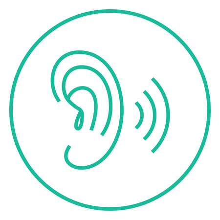 audible: Human ear thick line icon with pointed corners and edges for web, mobile and infographics. Vector isolated icon.