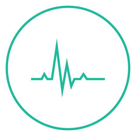 pulsating: Hheart beat cardiogram thick line icon with pointed corners and edges for web, mobile and infographics. Vector isolated icon.