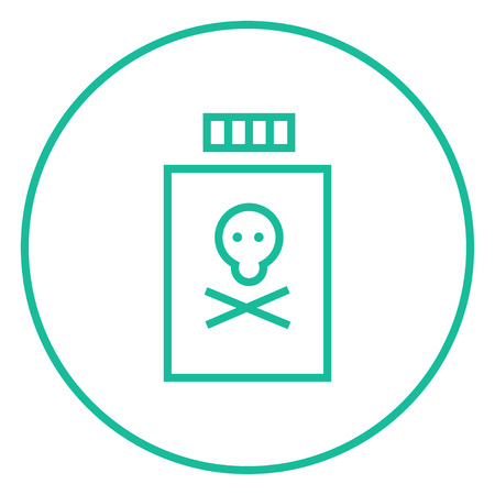 Bottle of poison thick line icon with pointed corners and edges for web, mobile and infographics. Vector isolated icon.