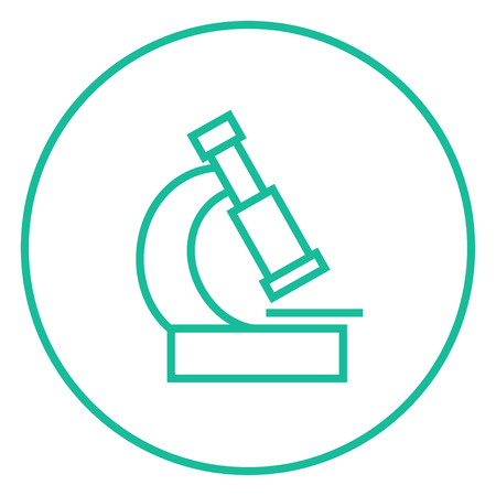 electronic survey: Microscope thick line icon with pointed corners and edges for web, mobile and infographics. Vector isolated icon.