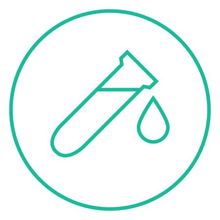 Tubo de ensayo con el icono de gota gruesa línea con esquinas puntiagudas y bordes para web, móvil y la infografía. aislado vector icono. Foto de archivo - 55170969