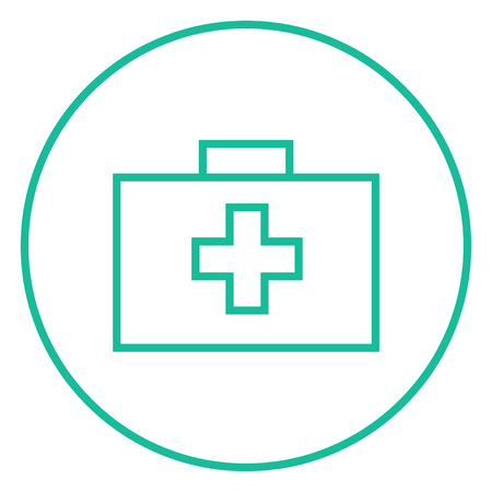 First aid kit thick line icon with pointed corners and edges for web, mobile and infographics. Vector isolated icon.