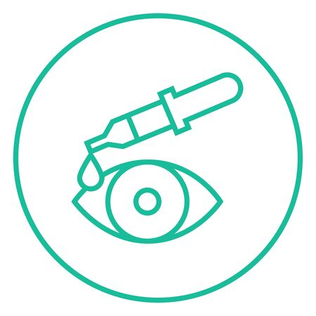 Pipette and eye thick line icon with pointed corners and edges for web, mobile and infographics. Vector isolated icon.