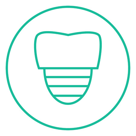 cleanliness: Tooth implant thick line icon with pointed corners and edges for web, mobile and infographics. Vector isolated icon.