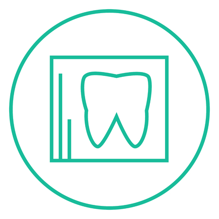 odontology: X-ray of the tooth thick line icon with pointed corners and edges for web, mobile and infographics. Vector isolated icon.