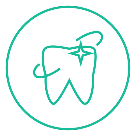 cleanliness: Shining tooth thick line icon with pointed corners and edges for web, mobile and infographics. Vector isolated icon. Illustration
