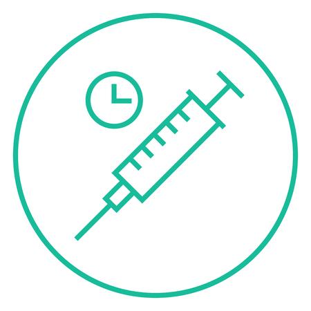 inyeccion intramuscular: Jeringa con el icono del reloj de línea gruesa con esquinas puntiagudas y bordes para web, móvil y la infografía. aislado vector icono. Vectores