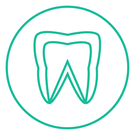 cleanliness: Molar tooth thick line icon with pointed corners and edges for web, mobile and infographics. Vector isolated icon.
