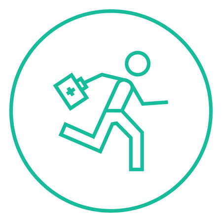 Paramedic running with first aid kit thick line icon with pointed corners and edges for web, mobile and infographics. Vector isolated icon. Ilustracja